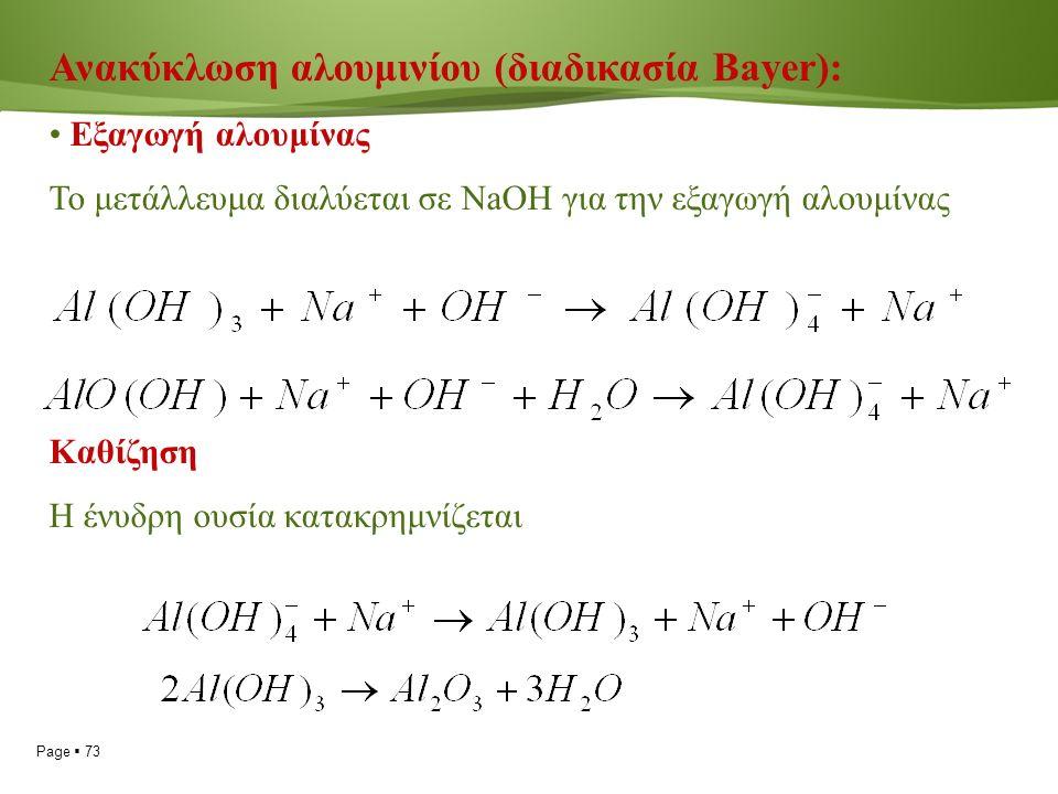 Page  73 Ανακύκλωση αλουμινίου (διαδικασία Bayer): Εξαγωγή αλουμίνας Το μετάλλευμα διαλύεται σε NaOH για την εξαγωγή αλουμίνας Καθίζηση Η ένυδρη ουσία κατακρημνίζεται