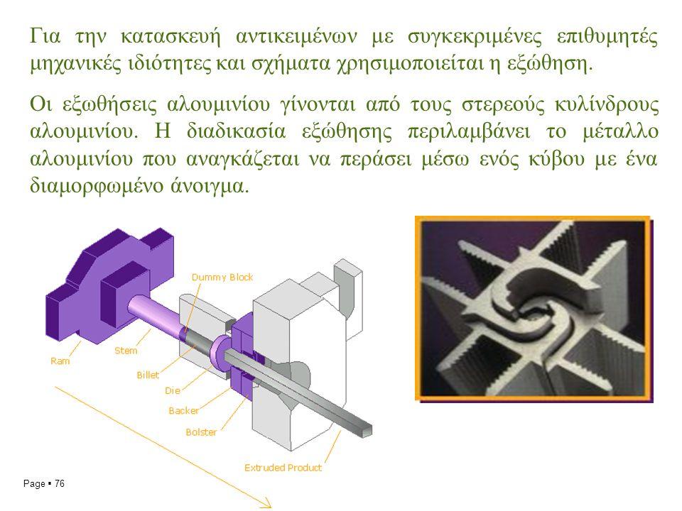 Page  76 Για την κατασκευή αντικειμένων με συγκεκριμένες επιθυμητές μηχανικές ιδιότητες και σχήματα χρησιμοποιείται η εξώθηση.