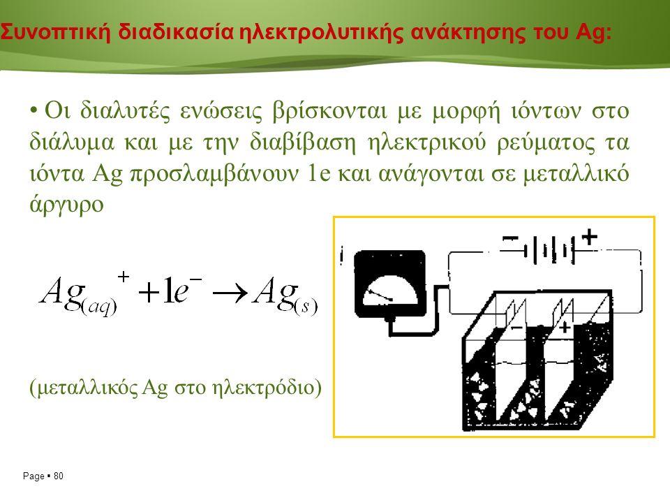 Page  80 Συνοπτική διαδικασία ηλεκτρολυτικής ανάκτησης του Ag: Οι διαλυτές ενώσεις βρίσκονται με μορφή ιόντων στο διάλυμα και με την διαβίβαση ηλεκτρικού ρεύματος τα ιόντα Ag προσλαμβάνουν 1e και ανάγονται σε μεταλλικό άργυρο (μεταλλικός Ag στο ηλεκτρόδιο)