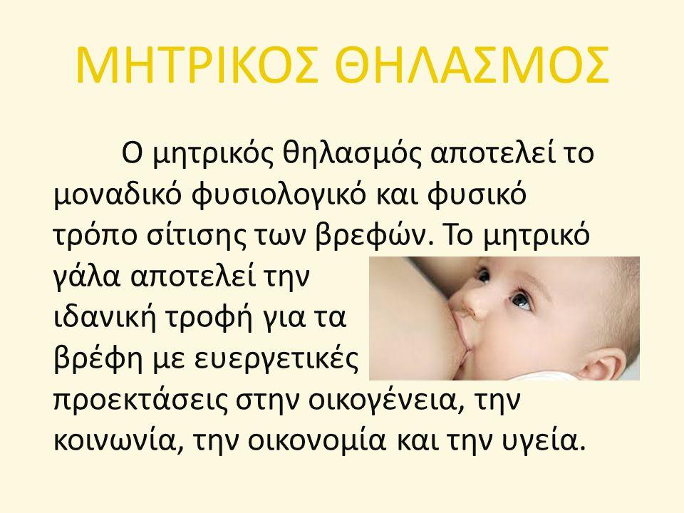 ΜΗΤΡΙΚΟΣ ΘΗΛΑΣΜΟΣ Ο μητρικός θηλασμός αποτελεί το μοναδικό φυσιολογικό και φυσικό τρόπο σίτισης των βρεφών. Το μητρικό γάλα αποτελεί την ιδανική τροφή