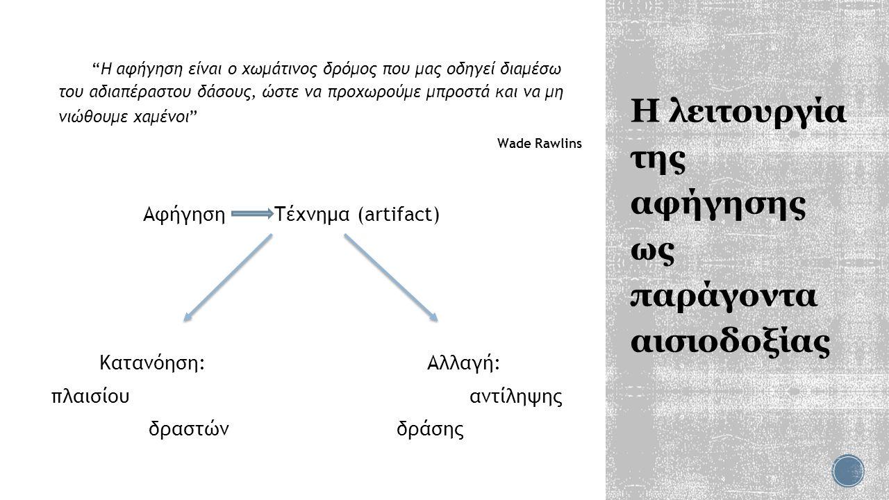 Η λειτουργία της αφήγησης ως παράγοντα αισιοδοξίας Η αφήγηση είναι ο χωμάτινος δρόμος που μας οδηγεί διαμέσω του αδιαπέραστου δάσους, ώστε να προχωρούμε μπροστά και να μη νιώθουμε χαμένοι Wade Rawlins Αφήγηση Τέχνημα (artifact) Κατανόηση: Αλλαγή: πλαισίου αντίληψης δραστών δράσης