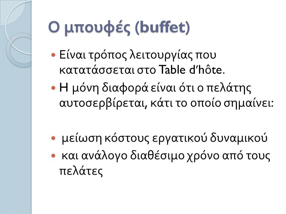 Ο μπουφές (buffet) Είναι τρόπος λειτουργίας που κατατάσσεται στο Table d'hôte.