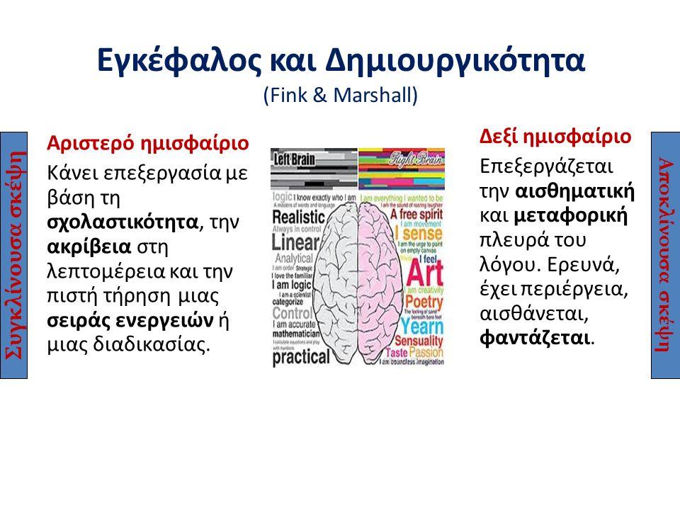 Εγκέφαλος και Δημιουργικότητα (Fink & Marshall) Αριστερό ημισφαίριο Κάνει επεξεργασία με βάση τη σχολαστικότητα, την ακρίβεια στη λεπτομέρεια και την
