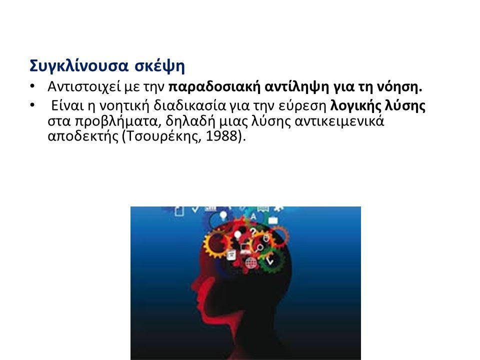 Τεχνικές δημιουργικής σκέψης Brainstorming (Κατιδεασμός): χρήσιμος σε κάθε ομαδική / ατομική εργασία (ψυχολογικά και γνωστικά) Κανόνες: α) Απαγορεύεται η κριτική β) Ενθαρρύνεται η ελεύθερη «πλοήγηση» στον χώρο της φαντασίας και του πιθανού γ) Επιμονή να παραχθούν όσο το δυνατόν περισσότερες ιδέες (στην ποσότητα εγκλείεται η ποιότητα) δ) Ενθαρρύνεται ο συνδυασμός και η βελτίωση των παραγόμενων ιδεών ε) Αξιολόγηση των προτεινόμενων ιδεών