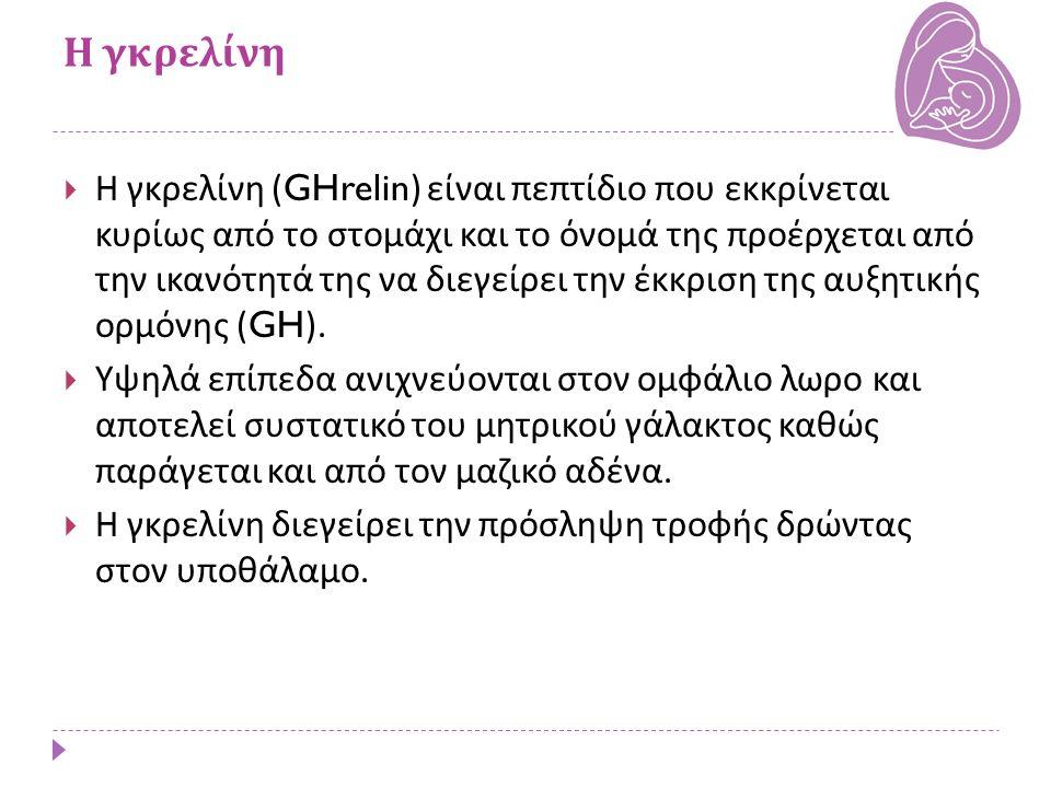 Η γκρελίνη  Η γκρελίνη (GHrelin) είναι πεπτίδιο που εκκρίνεται κυρίως από το στομάχι και το όνομά της προέρχεται από την ικανότητά της να διεγείρει τ
