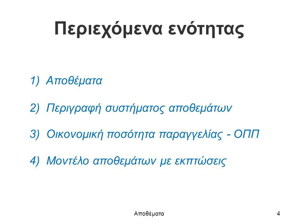 Περιεχόμενα ενότητας 1) Αποθέματα 2) Περιγραφή συστήματος αποθεμάτων 3) Οικονομική ποσότητα παραγγελίας - ΟΠΠ 4) Μοντέλο αποθεμάτων με εκπτώσεις Αποθέματα4