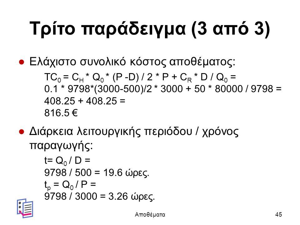 Τρίτο παράδειγμα (3 από 3) ●Ελάχιστο συνολικό κόστος αποθέματος: TC 0 = C H * Q 0 * (P -D) / 2 * P + C R * D / Q 0 = 0.1 * 9798*(3000-500)/2 * 3000 + 50 * 80000 / 9798 = 408.25 + 408.25 = 816.5 € ●Διάρκεια λειτουργικής περιόδου / χρόνος παραγωγής: t= Q 0 / D = 9798 / 500 = 19.6 ώρες.