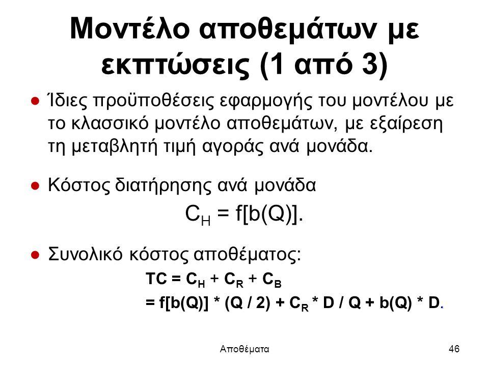 Μοντέλο αποθεμάτων με εκπτώσεις (1 από 3) ●Ίδιες προϋποθέσεις εφαρμογής του μοντέλου με το κλασσικό μοντέλο αποθεμάτων, με εξαίρεση τη μεταβλητή τιμή αγοράς ανά μονάδα.