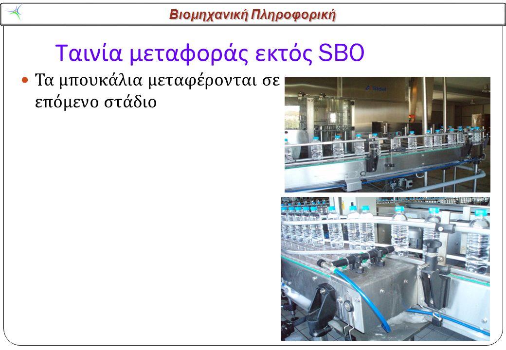 Βιομηχανική Πληροφορική Ταινία μεταφοράς εκτός SBO Τα μπουκάλια μεταφέρονται σε επόμενο στάδιο