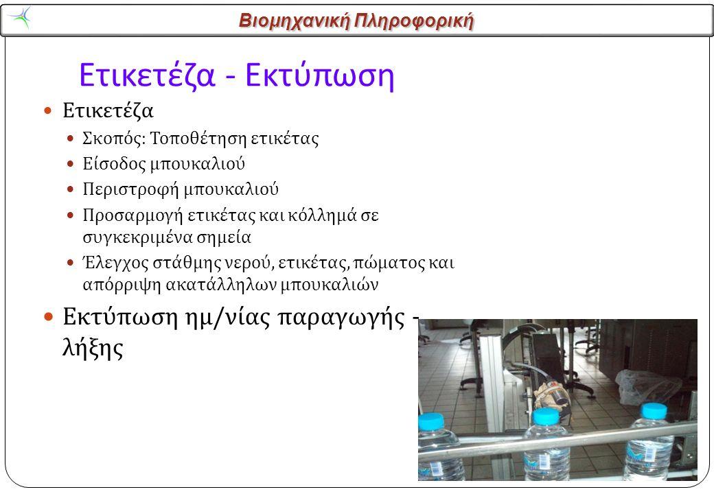 Βιομηχανική Πληροφορική Ετικετέζα - Εκτύπωση Ετικετέζα Σκοπός : Τοποθέτηση ετικέτας Είσοδος μπουκαλιού Περιστροφή μπουκαλιού Προσαρμογή ετικέτας και κόλλημά σε συγκεκριμένα σημεία Έλεγχος στάθμης νερού, ετικέτας, πώματος και απόρριψη ακατάλληλων μπουκαλιών Εκτύπωση ημ / νίας παραγωγής - λήξης