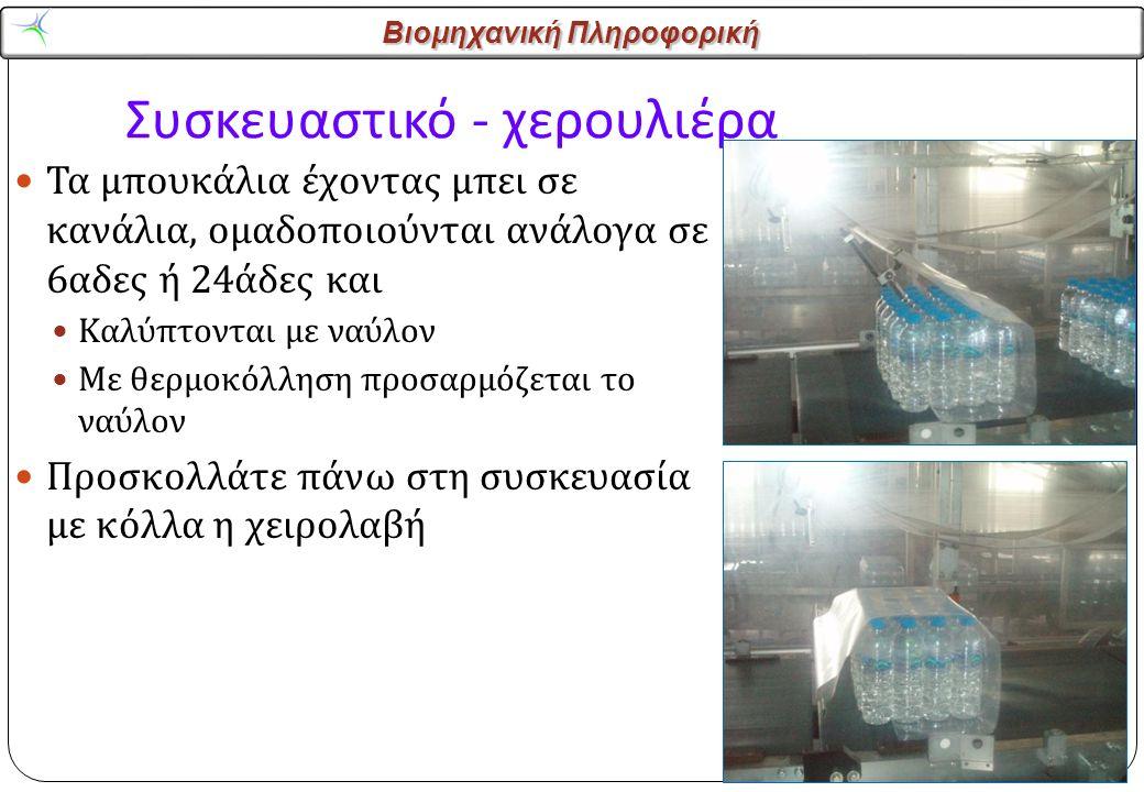 Βιομηχανική Πληροφορική Συσκευαστικό - χερουλιέρα Τα μπουκάλια έχοντας μπει σε κανάλια, ομαδοποιούνται ανάλογα σε 6 αδες ή 24 άδες και Καλύπτονται με ναύλον Με θερμοκόλληση προσαρμόζεται το ναύλον Προσκολλάτε πάνω στη συσκευασία με κόλλα η χειρολαβή