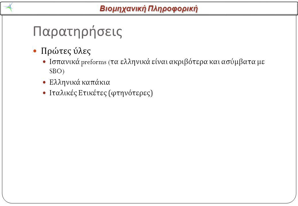 Βιομηχανική Πληροφορική Παρατηρήσεις Πρώτες ύλες Ισπανικά preforms ( τα ελληνικά είναι ακριβότερα και ασύμβατα με SBO) Ελληνικά καπάκια Ιταλικές Ετικέτες ( φτηνότερες )
