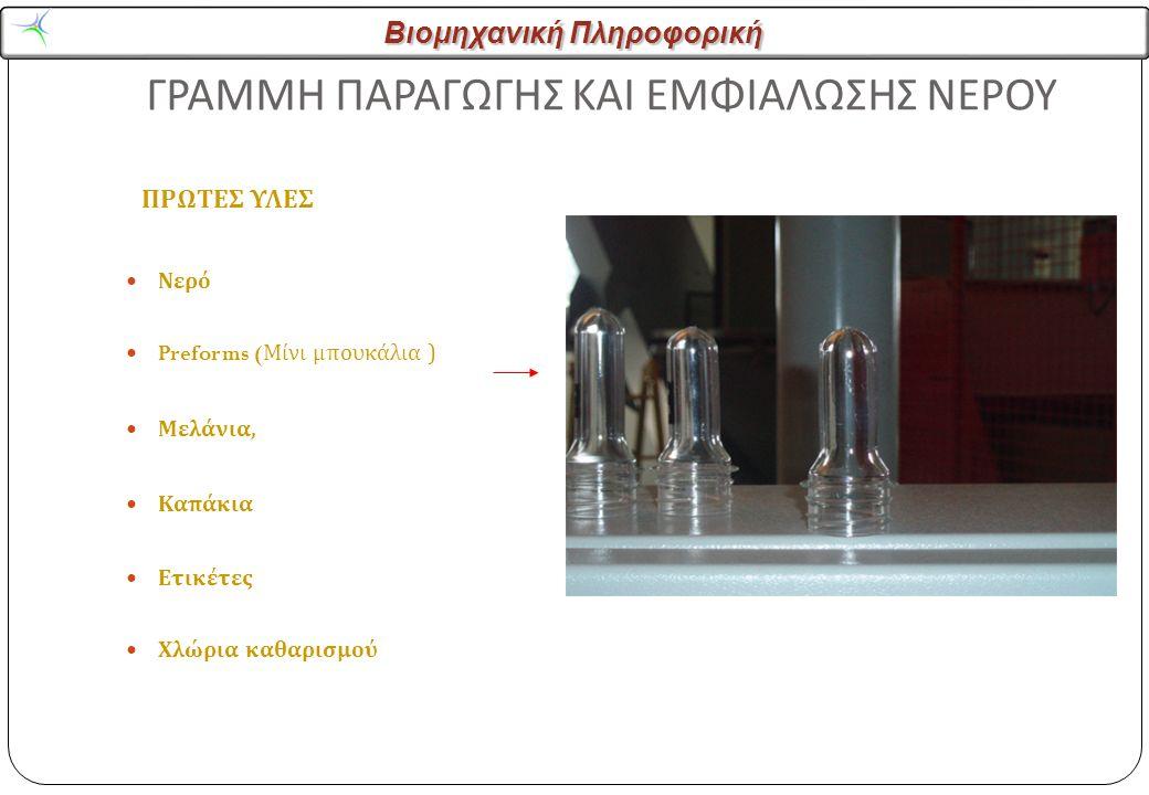 Βιομηχανική Πληροφορική ΓΡΑΜΜΗ ΠΑΡΑΓΩΓΗΣ ΚΑΙ ΕΜΦΙΑΛΩΣΗΣ ΝΕΡΟΥ ΠΡΩΤΕΣ ΥΛΕΣ Νερό Preforms ( Μίνι μπουκάλια ) Μελάνια, Καπάκια Ετικέτες Χλώρια καθαρισμού
