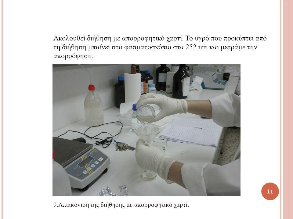 Ακολουθεί διήθηση με απορροφητικό χαρτί. Το υγρό που προκύπτει από τη διήθηση μπαίνει στο φασματοσκόπιο στα 252 nm και μετράμε την απορρόφηση. 9.Απεικ