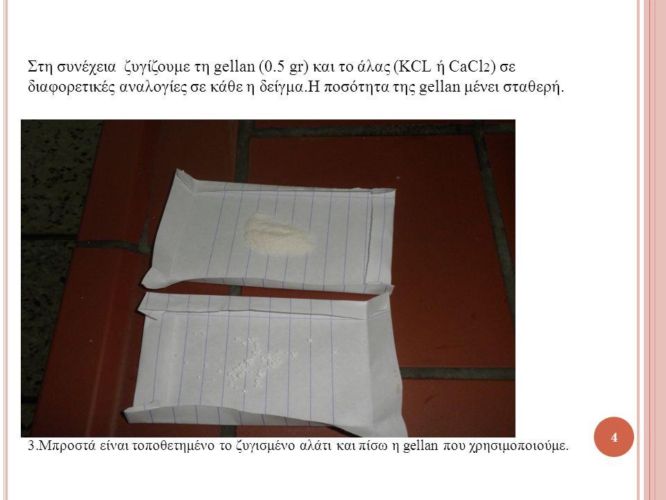 4 Στη συνέχεια ζυγίζουμε τη gellan (0.5 gr) και το άλας (KCL ή CaCl 2 ) σε διαφορετικές αναλογίες σε κάθε η δείγμα.Η ποσότητα της gellan μένει σταθερή