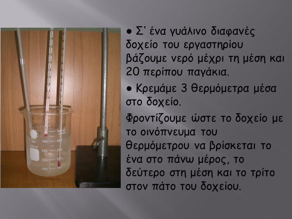 ● Σ' ένα γυάλινο διαφανές δοχείο του εργαστηρίου βάζουμε νερό μέχρι τη μέση και 20 περίπου παγάκια.