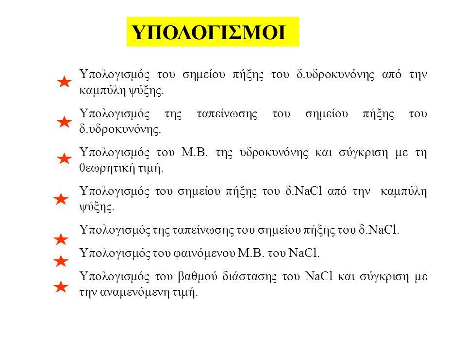 YΠΟΛΟΓΙΣΜΟΙ Υπολογισμός του σημείου πήξης του δ.υδροκυνόνης από την καμπύλη ψύξης.
