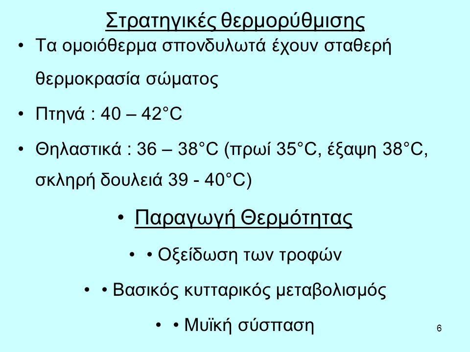 6 Στρατηγικές θερμορύθμισης Τα ομοιόθερμα σπονδυλωτά έχουν σταθερή θερμοκρασία σώματος Πτηνά : 40 – 42°C Θηλαστικά : 36 – 38°C (πρωί 35°C, έξαψη 38°C, σκληρή δουλειά 39 - 40°C) Παραγωγή Θερμότητας Οξείδωση των τροφών Βασικός κυτταρικός μεταβολισμός Μυϊκή σύσπαση