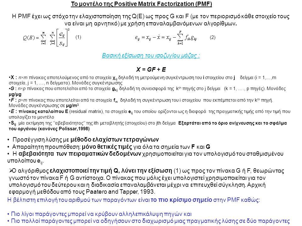 Το μοντέλο της Positive Matrix Factorization (PMF) X : n×m πίνακας αποτελούμενος από τα στοιχεία χ ιj δηλαδή τη μετρούμενη συγκέντρωση του i στοιχείου στο j δείγμα (i = 1,…,m στοιχεία, j = 1, …, n δείγματα).