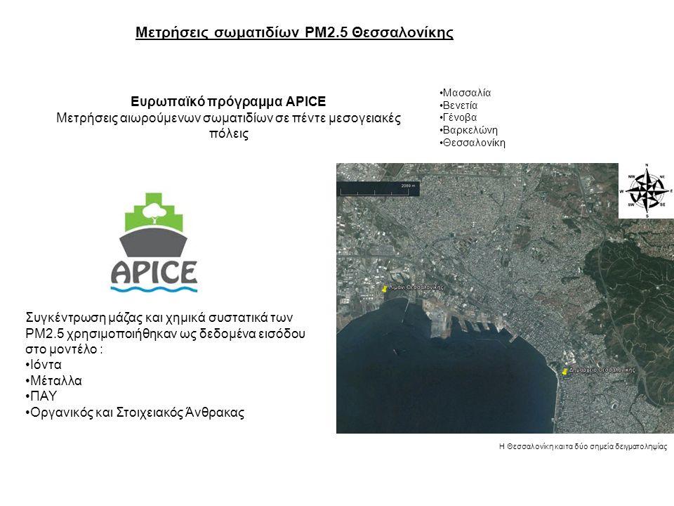 Ευρωπαϊκό πρόγραμμα APICE Μετρήσεις αιωρούμενων σωματιδίων σε πέντε μεσογειακές πόλεις Μασσαλία Βενετία Γένοβα Βαρκελώνη Θεσσαλονίκη Η Θεσσαλονίκη και τα δύο σημεία δειγματοληψίας Συγκέντρωση μάζας και χημικά συστατικά των ΡΜ2.5 χρησιμοποιήθηκαν ως δεδομένα εισόδου στο μοντέλο : Ιόντα Μέταλλα ΠΑΥ Οργανικός και Στοιχειακός Άνθρακας Μετρήσεις σωματιδίων PM2.5 Θεσσαλονίκης