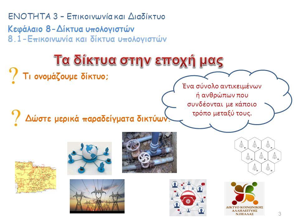 Τι ονομάζουμε δίκτυο; 3 ΕΝΟΤΗΤΑ 3 – Επικοινωνία και Διαδίκτυο Κεφάλαιο 8-Δίκτυα υπολογιστών 8.1-Επικοινωνία και δίκτυα υπολογιστών Δώστε μερικά παραδείγματα δικτύων.