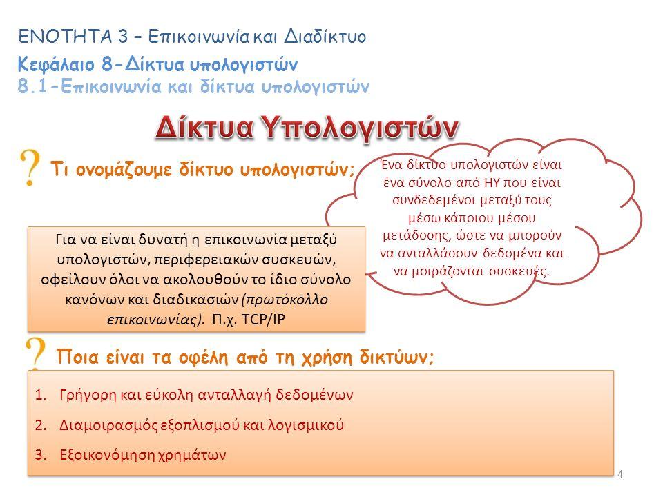 4 ΕΝΟΤΗΤΑ 3 – Επικοινωνία και Διαδίκτυο Κεφάλαιο 8-Δίκτυα υπολογιστών 8.1-Επικοινωνία και δίκτυα υπολογιστών Τι ονομάζουμε δίκτυο υπολογιστών; Ένα δίκτυο υπολογιστών είναι ένα σύνολο από ΗΥ που είναι συνδεδεμένοι μεταξύ τους μέσω κάποιου μέσου μετάδοσης, ώστε να μπορούν να ανταλλάσουν δεδομένα και να μοιράζονται συσκευές.