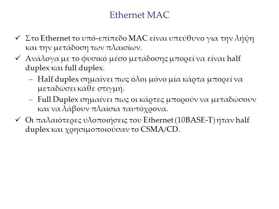 Εthernet MAC Στο Ethernet το υπό-επίπεδο MAC είναι υπεύθυνο για την λήψη και την μετάδοση των πλαισίων. Ανάλογα με το φυσικό μέσο μετάδοσης μπορεί να
