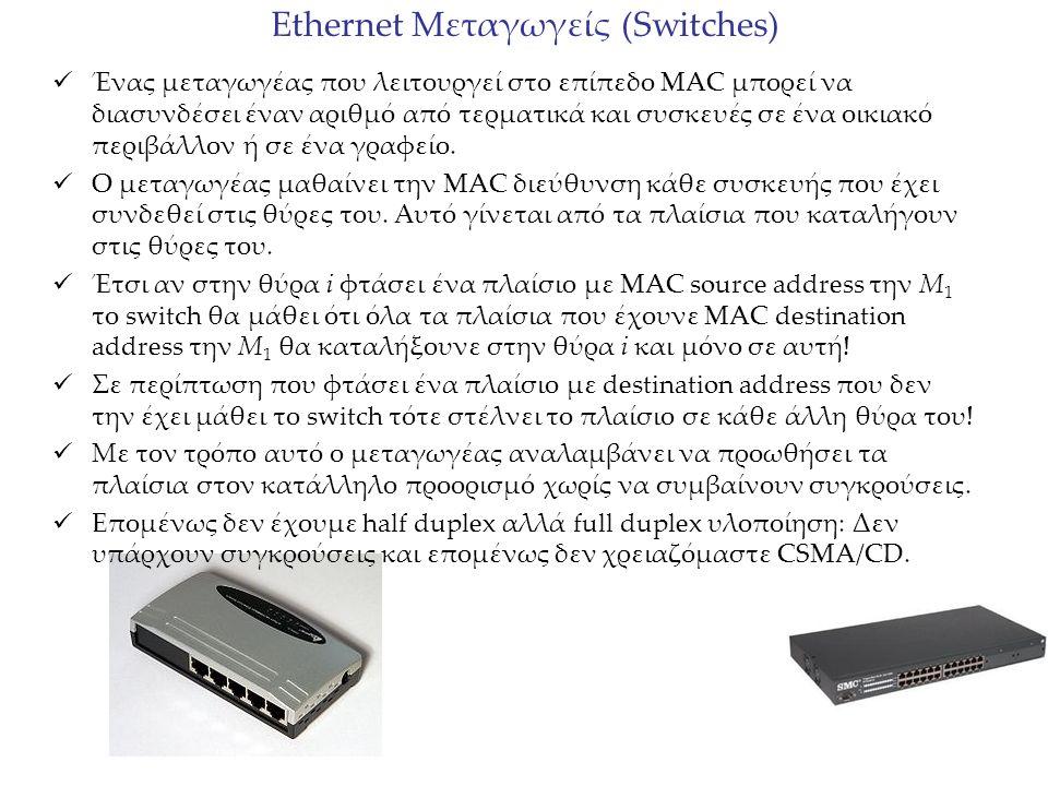 Εthernet Μεταγωγείς (Switches) Ένας μεταγωγέας που λειτουργεί στο επίπεδο MAC μπορεί να διασυνδέσει έναν αριθμό από τερματικά και συσκευές σε ένα οικι