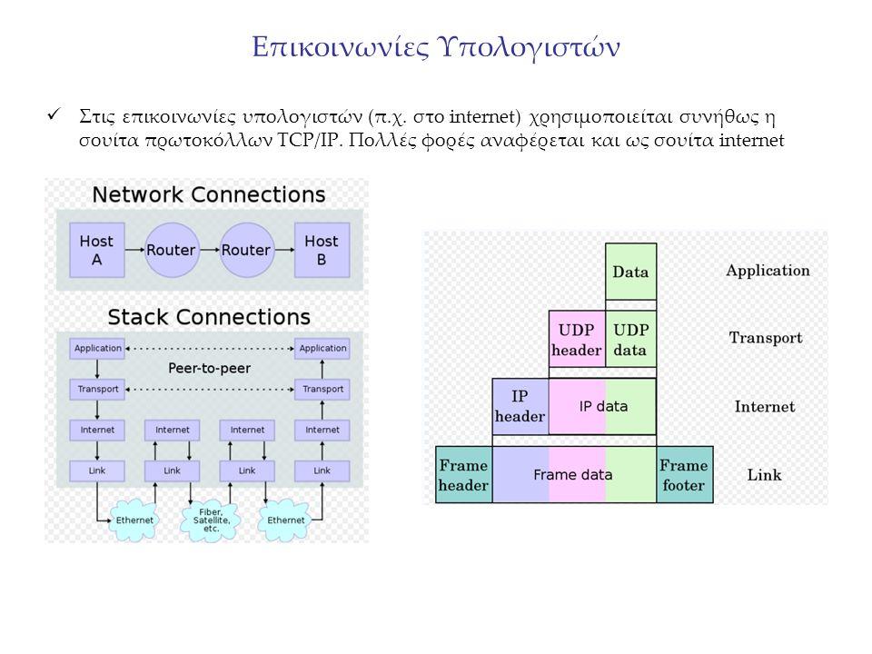Στις επικοινωνίες υπολογιστών (π.χ. στο internet) χρησιμοποιείται συνήθως η σουίτα πρωτοκόλλων TCP/IP. Πολλές φορές αναφέρεται και ως σουίτα internet