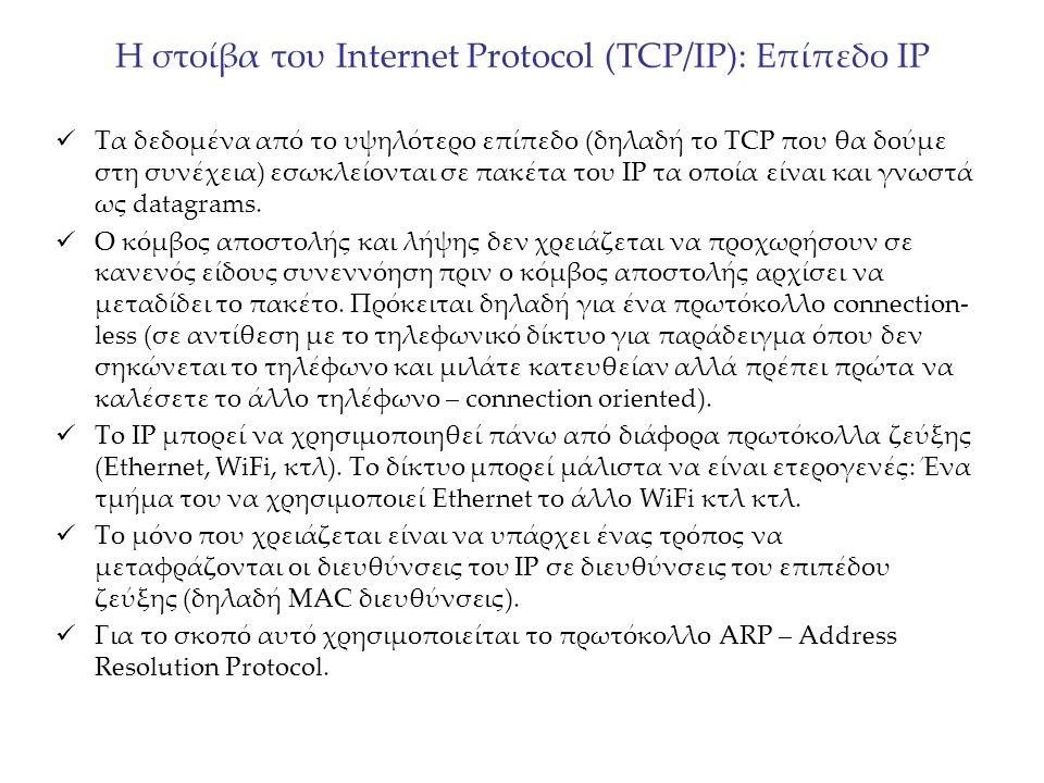Η στοίβα του Internet Protocol (TCP/IP): Επίπεδο IP Τα δεδομένα από το υψηλότερο επίπεδο (δηλαδή το TCP που θα δούμε στη συνέχεια) εσωκλείονται σε πακ