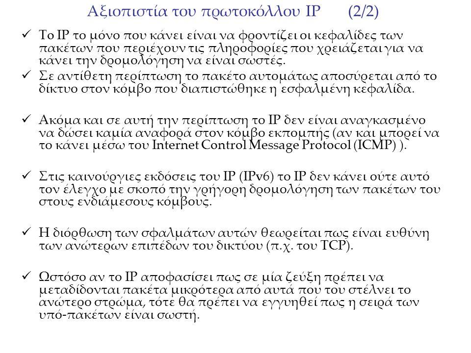 Αξιοπιστία του πρωτοκόλλου IP (2/2) Τo IP το μόνο που κάνει είναι να φροντίζει οι κεφαλίδες των πακέτων που περιέχουν τις πληροφορίες που χρειάζεται γ