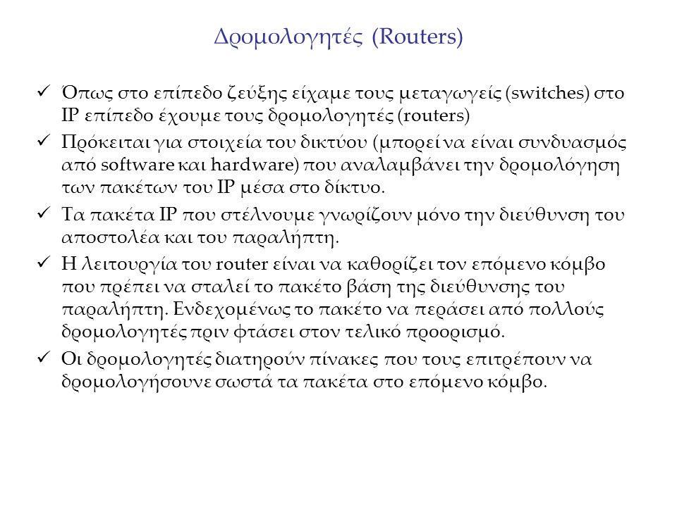 Δρομολογητές (Routers) Όπως στο επίπεδο ζεύξης είχαμε τους μεταγωγείς (switches) στο IP επίπεδο έχουμε τους δρομολογητές (routers) Πρόκειται για στοιχ