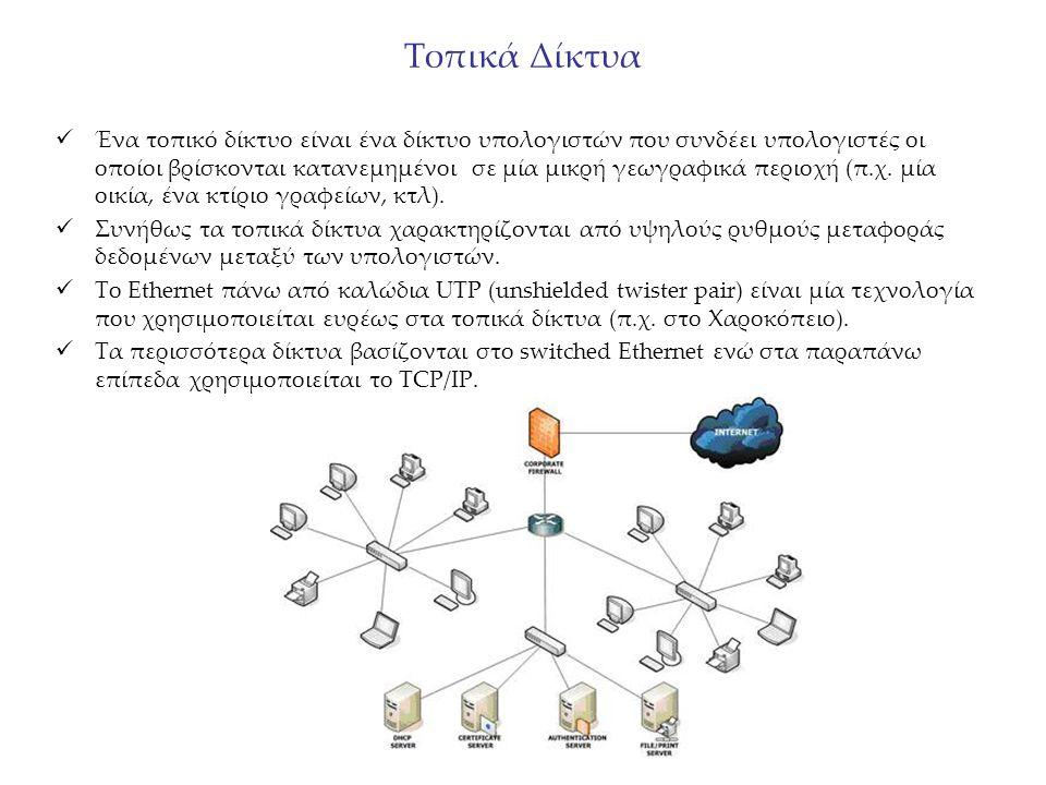 Τοπικά Δίκτυα Ένα τοπικό δίκτυο είναι ένα δίκτυο υπολογιστών που συνδέει υπολογιστές οι οποίοι βρίσκονται κατανεμημένοι σε μία μικρή γεωγραφικά περιοχ