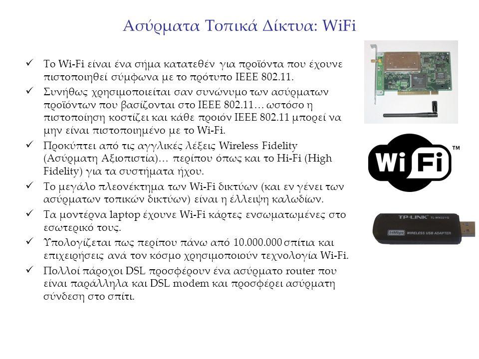 Ασύρματα Τοπικά Δίκτυα: WiFi To Wi-Fi είναι ένα σήμα κατατεθέν για προϊόντα που έχουνε πιστοποιηθεί σύμφωνα με το πρότυπο IEEE 802.11. Συνήθως χρησιμο