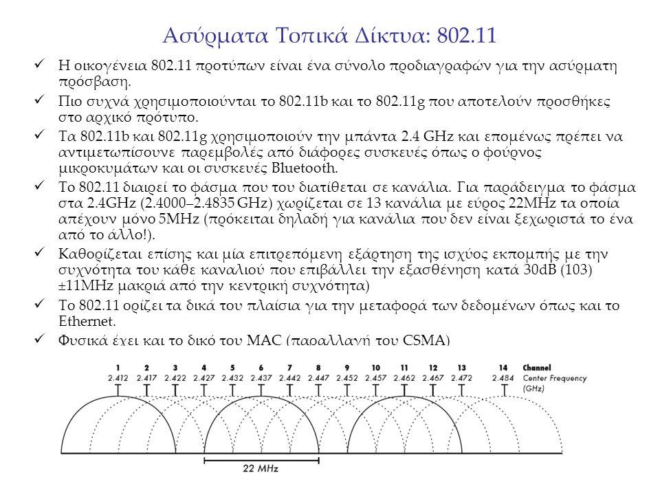 Ασύρματα Τοπικά Δίκτυα: 802.11 Η οικογένεια 802.11 προτύπων είναι ένα σύνολο προδιαγραφών για την ασύρματη πρόσβαση. Πιο συχνά χρησιμοποιούνται το 802