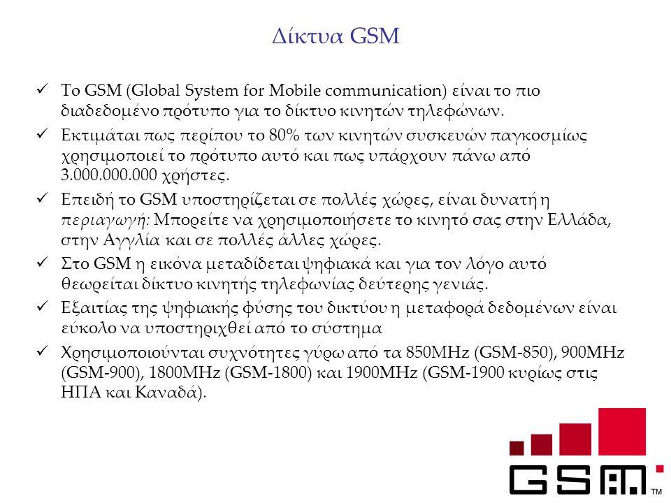 Δίκτυα GSM To GSM (Global System for Mobile communication) είναι το πιο διαδεδομένο πρότυπο για το δίκτυο κινητών τηλεφώνων. Εκτιμάται πως περίπου το