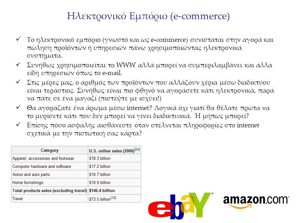 Ηλεκτρονικό Εμπόριο (e-commerce) To ηλεκτρονικό εμπόριο (γνωστό και ως e-commerce) συνίσταται στην αγορά και πώληση προϊόντων ή υπηρεσιών πάνω χρησιμο