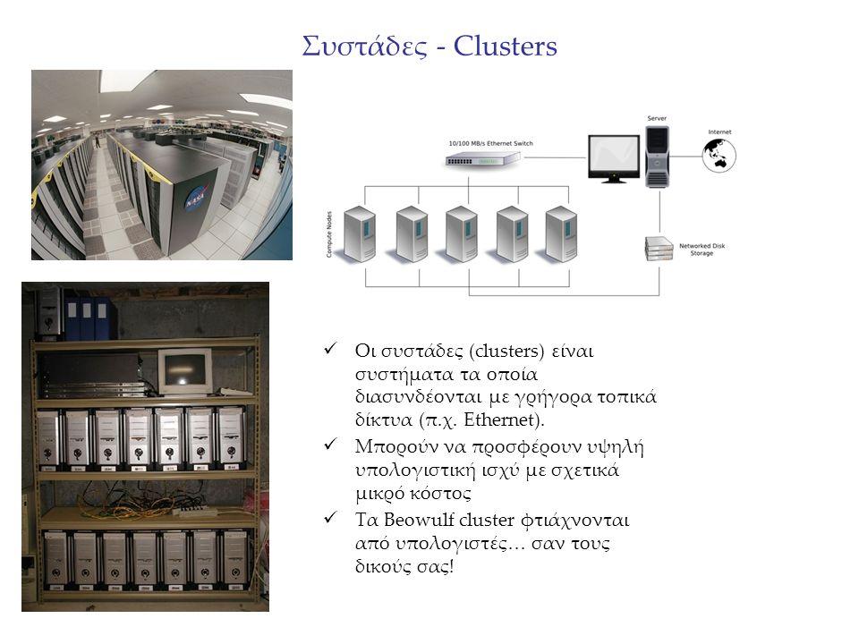 Συστάδες - Clusters Οι συστάδες (clusters) είναι συστήματα τα οποία διασυνδέονται με γρήγορα τοπικά δίκτυα (π.χ. Ethernet). Μπορούν να προσφέρουν υψηλ