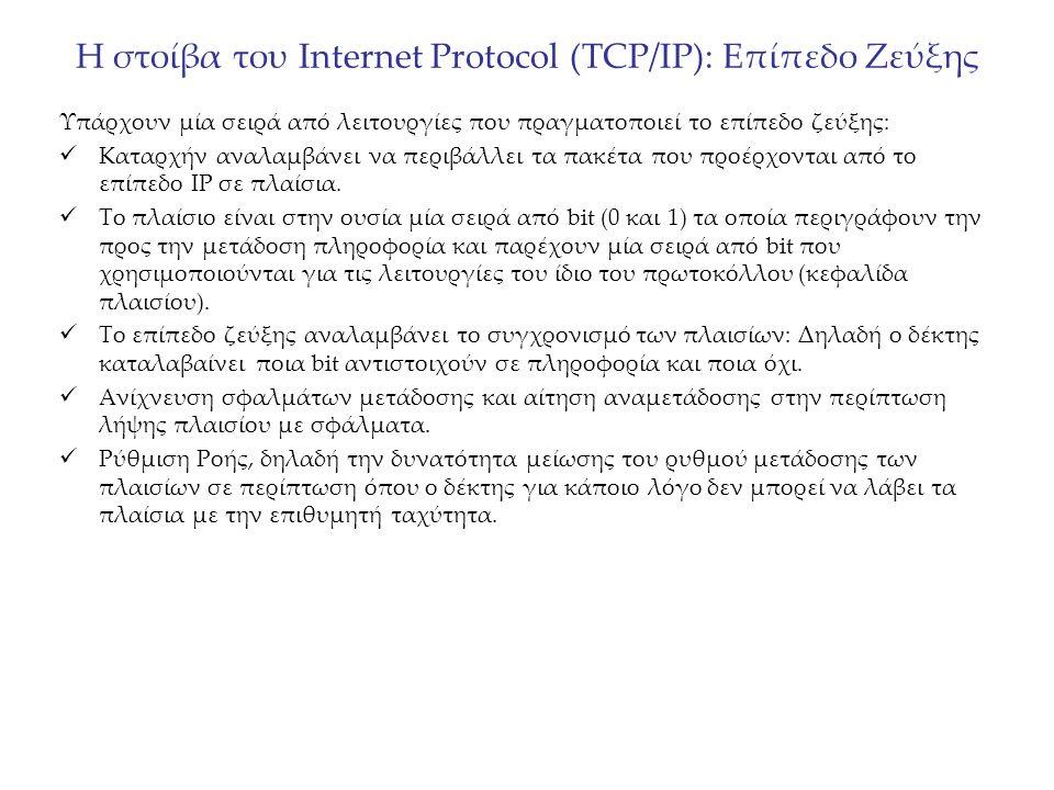 Η στοίβα του Internet Protocol (TCP/IP): MAC Το επίπεδο ζεύξης προσφέρει και λειτουργίες Ελέγχου Μέσου Πρόσβασης (Medium Access Control – ΜΑC) Τα πρωτόκολλα MAC είναι πολύ σημαντικά επειδή επιτρέπουν την επικοινωνία πάνω από ένα φυσικό μέσο (π.χ.