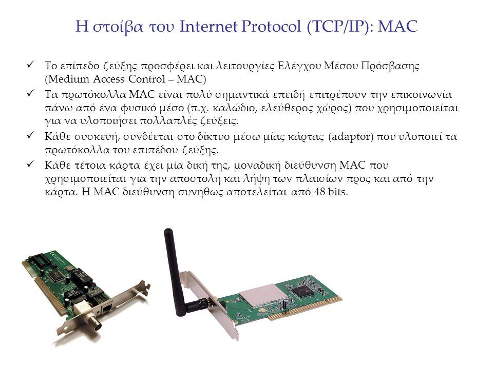 Η στοίβα του Internet Protocol (TCP/IP): MAC Το επίπεδο ζεύξης προσφέρει και λειτουργίες Ελέγχου Μέσου Πρόσβασης (Medium Access Control – ΜΑC) Τα πρωτ