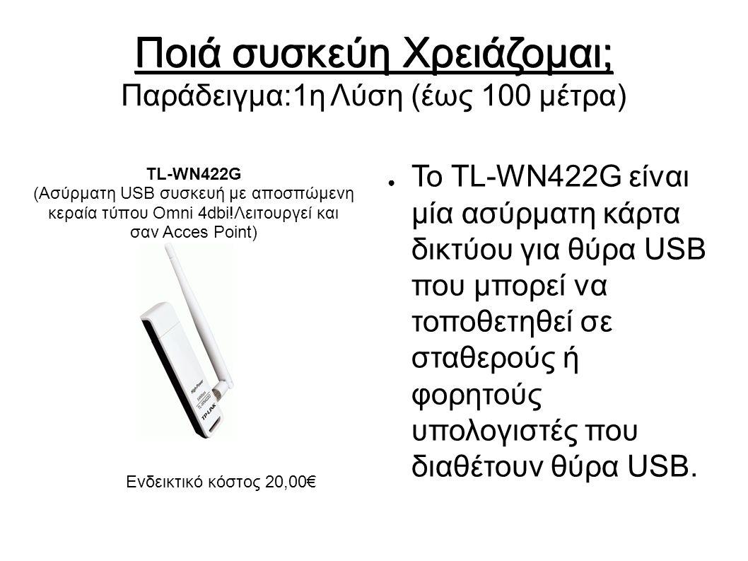 Ποιά συσκεύη Χρειάζομαι; Ποιά συσκεύη Χρειάζομαι; Παράδειγμα:1η Λύση (έως 100 μέτρα) ● Το TL-WN422G είναι μία ασύρματη κάρτα δικτύου για θύρα USB που μπορεί να τοποθετηθεί σε σταθερούς ή φορητούς υπολογιστές που διαθέτουν θύρα USB.