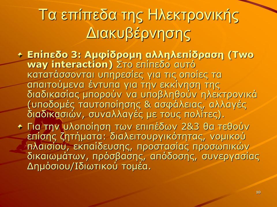 10 Τα επίπεδα της Ηλεκτρονικής Διακυβέρνησης Επίπεδο 3: Αμφίδρομη αλληλεπίδραση (Two way interaction) Στο επίπεδο αυτό κατατάσσονται υπηρεσίες για τις οποίες τα απαιτούμενα έντυπα για την εκκίνηση της διαδικασίας μπορούν να υποβληθούν ηλεκτρονικά (υποδομές ταυτοποίησης & ασφάλειας, αλλαγές διαδικασιών, συναλλαγές με τους πολίτες).