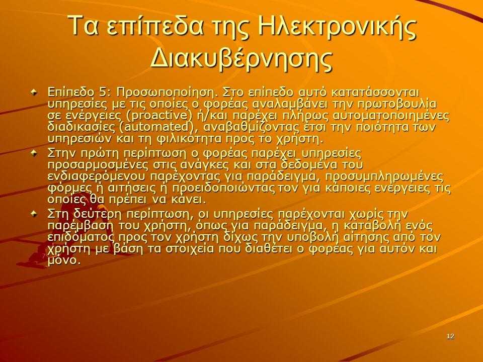 12 Τα επίπεδα της Ηλεκτρονικής Διακυβέρνησης Επίπεδο 5: Προσωποποίηση.
