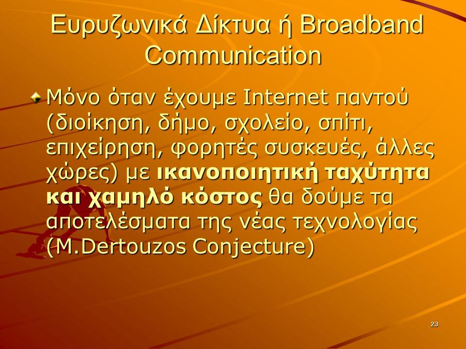 23 Ευρυζωνικά Δίκτυα ή Broadband Communication Ευρυζωνικά Δίκτυα ή Broadband Communication Μόνο όταν έχουμε Internet παντού (διοίκηση, δήμο, σχολείο, σπίτι, επιχείρηση, φορητές συσκευές, άλλες χώρες) με ικανοποιητική ταχύτητα και χαμηλό κόστος θα δούμε τα αποτελέσματα της νέας τεχνολογίας (Μ.Dertouzos Conjecture)