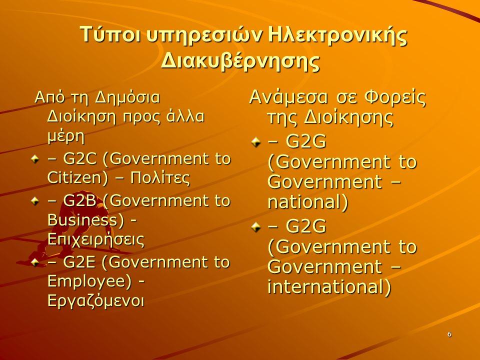6 Τύποι υπηρεσιών Ηλεκτρονικής Διακυβέρνησης Τύποι υπηρεσιών Ηλεκτρονικής Διακυβέρνησης Από τη Δημόσια Διοίκηση προς άλλα μέρη Από τη Δημόσια Διοίκηση προς άλλα μέρη – G2C (Government to Citizen) – Πολίτες – G2B (Government to Business) - Επιχειρήσεις – G2E (Government to Employee) - Εργαζόμενοι Ανάμεσα σε Φορείς της Διοίκησης – G2G (Government to Government – national) – G2G (Government to Government – international)