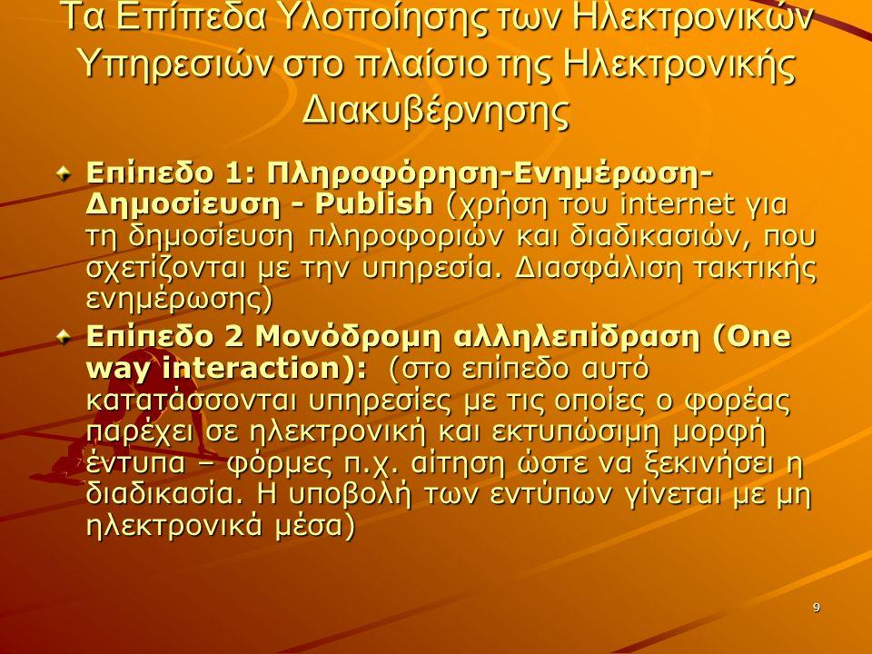 9 Τα Επίπεδα Υλοποίησης των Ηλεκτρονικών Υπηρεσιών στο πλαίσιο της Ηλεκτρονικής Διακυβέρνησης Επίπεδο 1: Πληροφόρηση-Ενημέρωση- Δημοσίευση - Publish (χρήση του internet για τη δημοσίευση πληροφοριών και διαδικασιών, που σχετίζονται με την υπηρεσία.