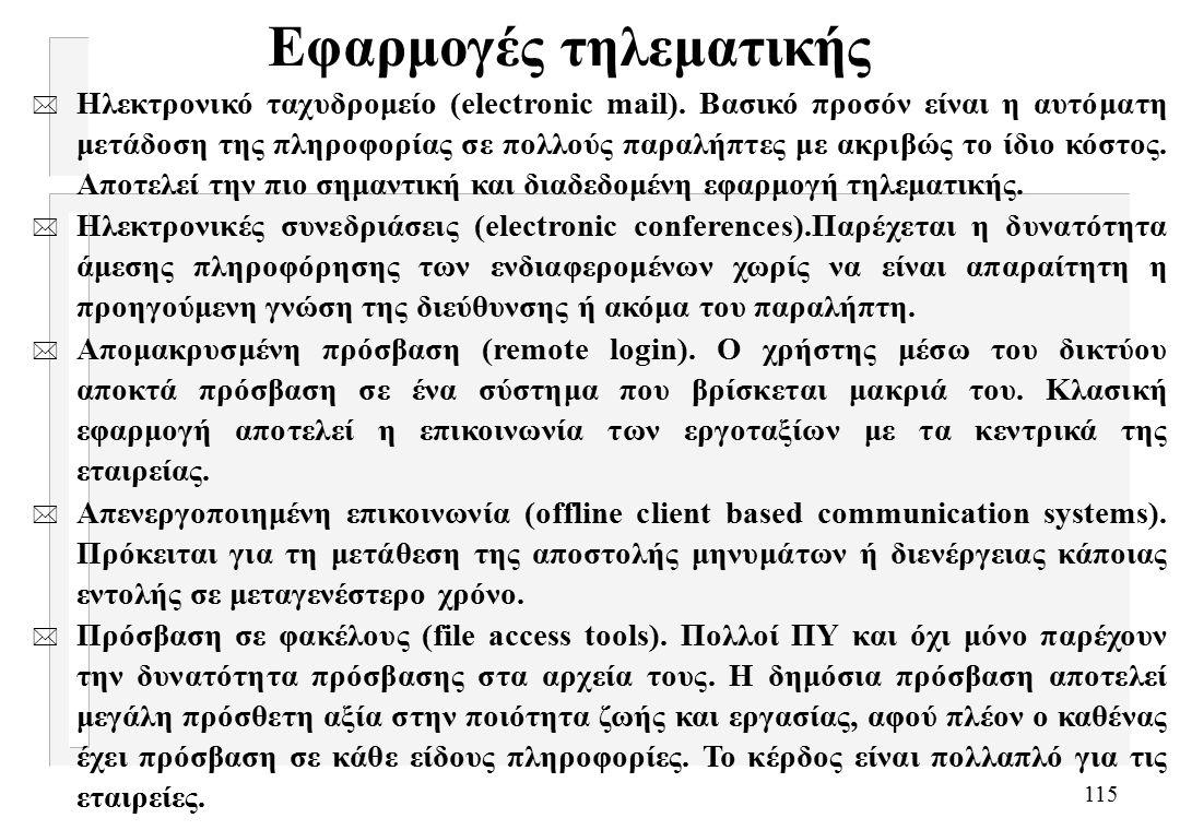115 Εφαρμογές τηλεματικής * Ηλεκτρονικό ταχυδρομείο (electronic mail).