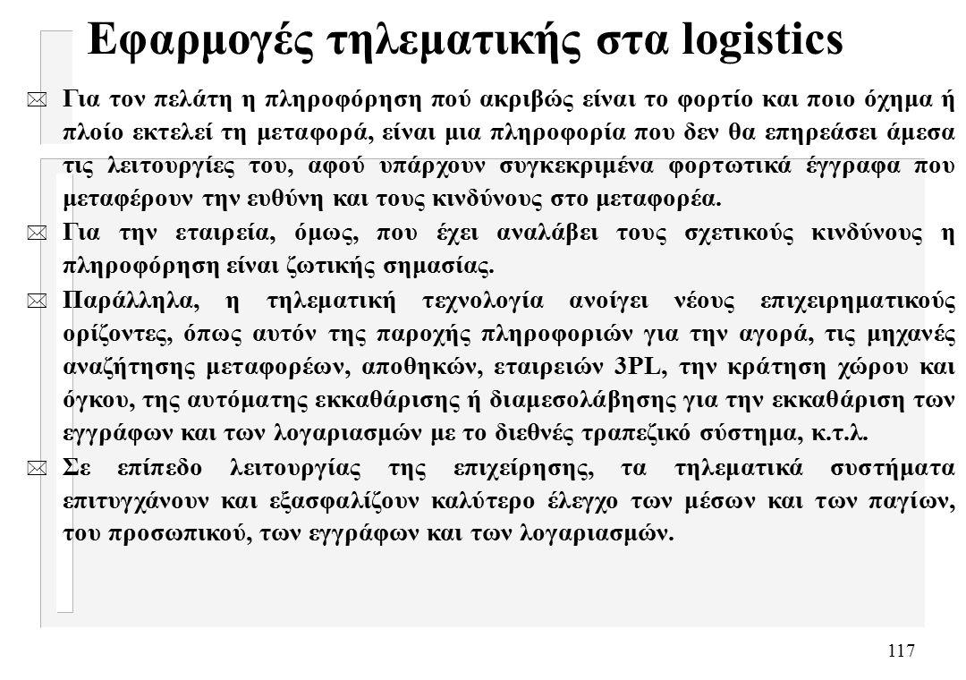 117 Εφαρμογές τηλεματικής στα logistics * Για τον πελάτη η πληροφόρηση πού ακριβώς είναι το φορτίο και ποιο όχημα ή πλοίο εκτελεί τη μεταφορά, είναι μια πληροφορία που δεν θα επηρεάσει άμεσα τις λειτουργίες του, αφού υπάρχουν συγκεκριμένα φορτωτικά έγγραφα που μεταφέρουν την ευθύνη και τους κινδύνους στο μεταφορέα.