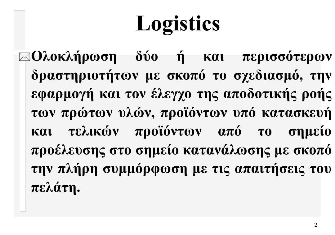 2 Logistics * Ολοκλήρωση δύο ή και περισσότερων δραστηριοτήτων με σκοπό το σχεδιασμό, την εφαρμογή και τον έλεγχο της αποδοτικής ροής των πρώτων υλών, προϊόντων υπό κατασκευή και τελικών προϊόντων από το σημείο προέλευσης στο σημείο κατανάλωσης με σκοπό την πλήρη συμμόρφωση με τις απαιτήσεις του πελάτη.