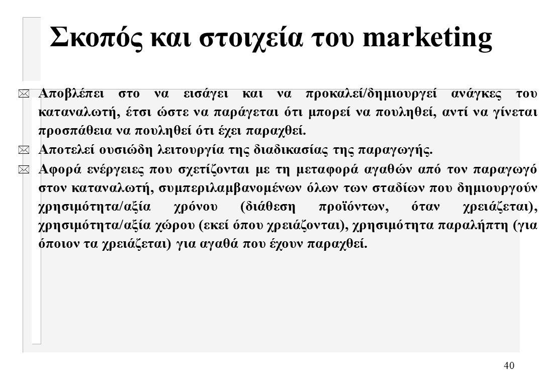 40 Σκοπός και στοιχεία του marketing * Αποβλέπει στο να εισάγει και να προκαλεί/δημιουργεί ανάγκες του καταναλωτή, έτσι ώστε να παράγεται ότι μπορεί να πουληθεί, αντί να γίνεται προσπάθεια να πουληθεί ότι έχει παραχθεί.